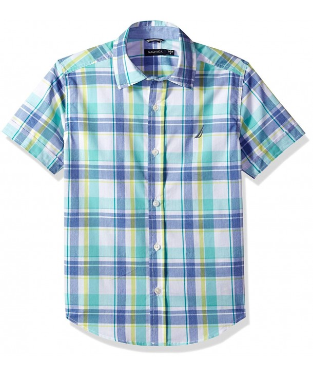 Nautica Short Sleeve Plaid Button