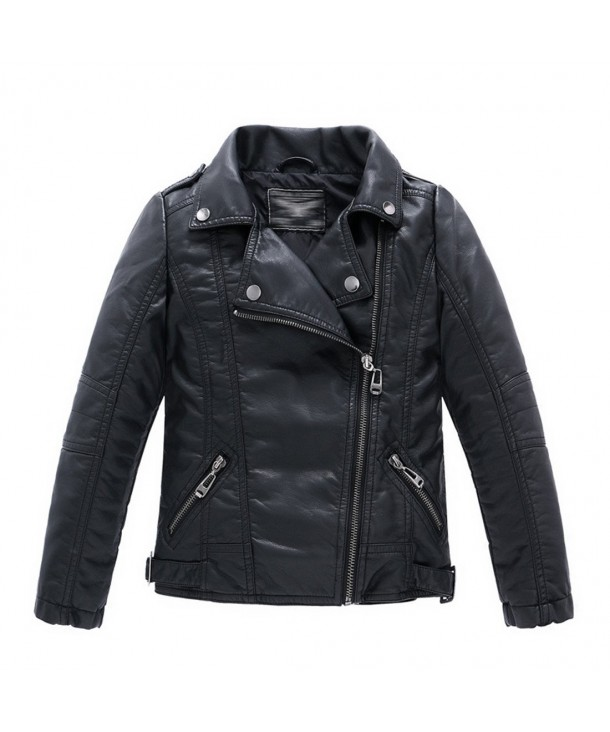LJYH Childrens Collar Motorcycle Leather