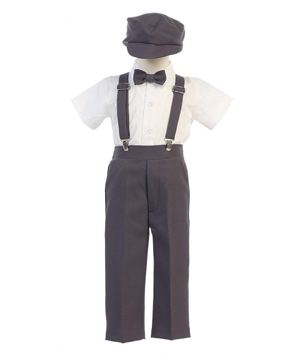 Boys Suspender Pant Set Hat