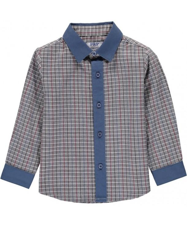 Boys Navy Gray Checkered Button