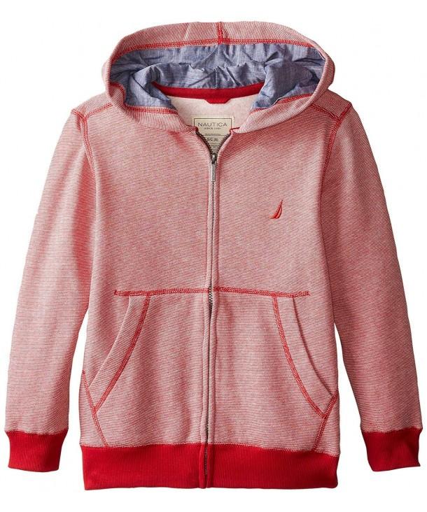 Nautica Stripe Fleece Jacket Chambray