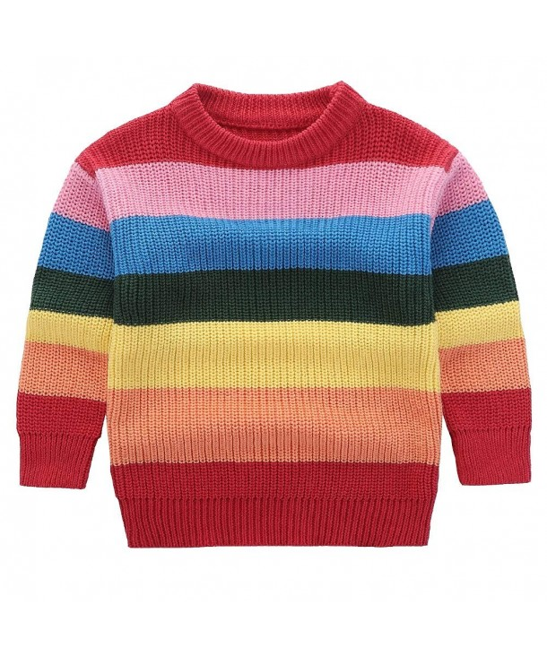 Motteecity Clothes Colorful Rainbow Pullover