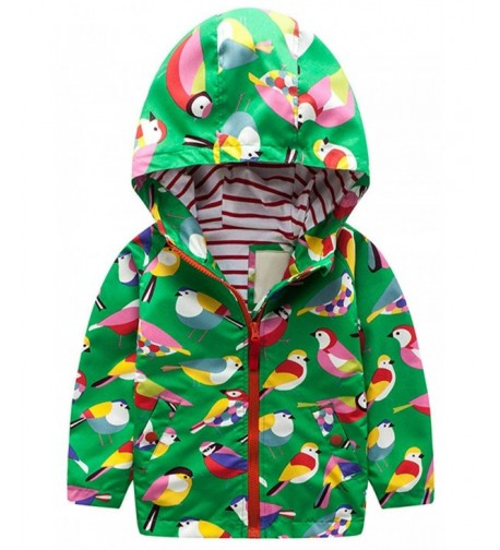 2Bunnies Girl Windbreaker Birds Hooded Bomber Cotton Lined Jacket