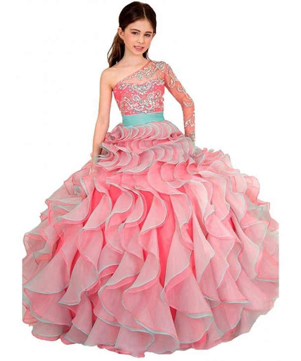 Girls Shoulder Ball Pageant Dresses