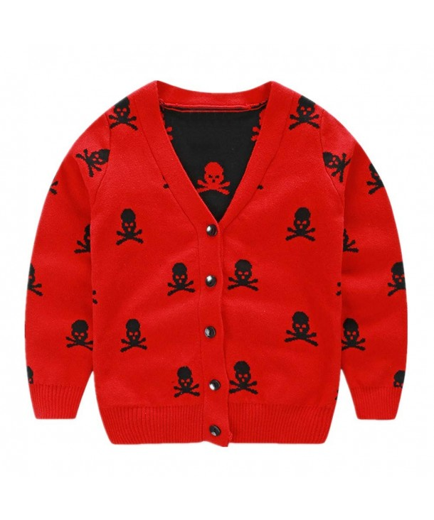 LittleSpring Cardigan Sweater V Neck Skull