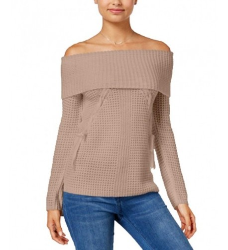 OhMG Juniors Lace-Up Off-The-Shoulder Sweater