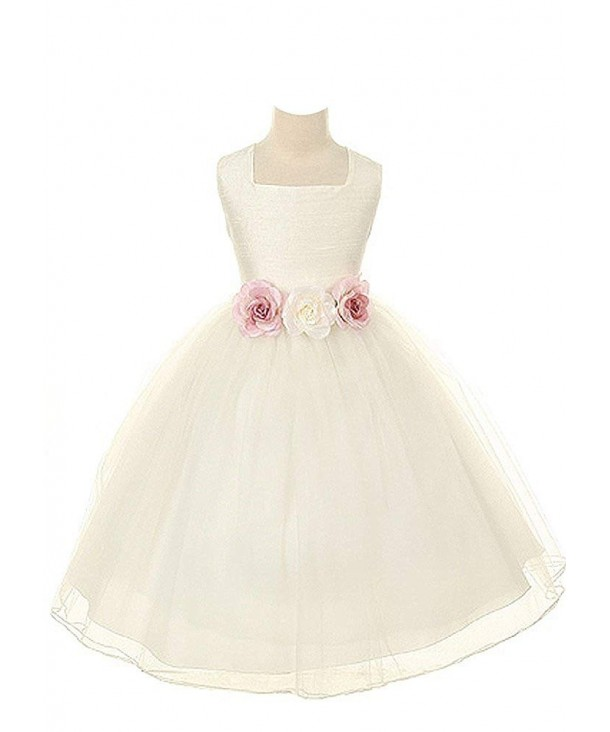 Kids Dream Dupioni Flower Dress white 12