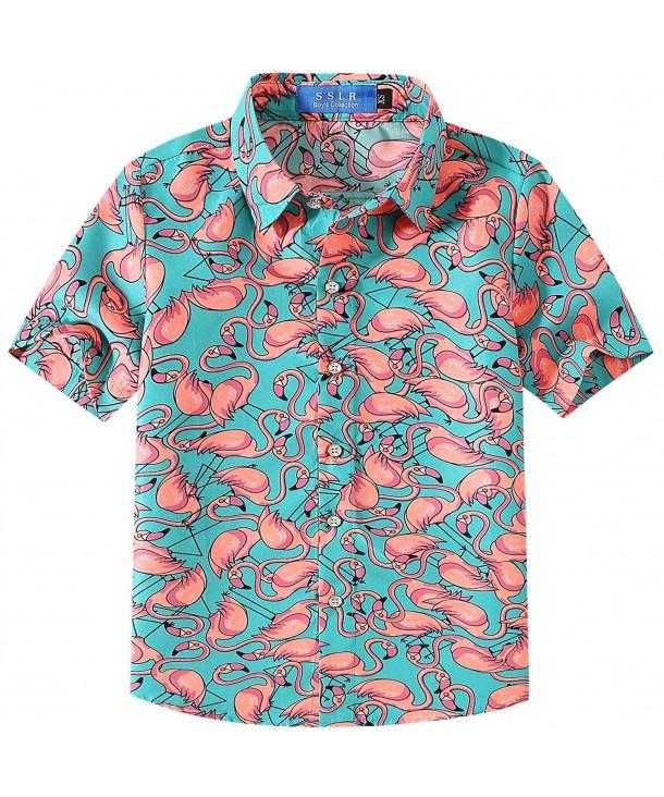 SSLR Flamingos Button Casual Hawaiian