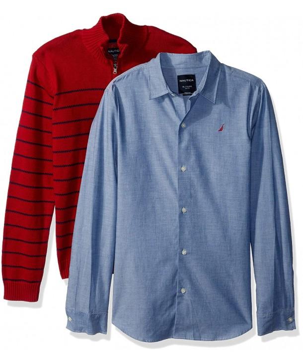 Nautica Piece Sweater Chambray Shirt