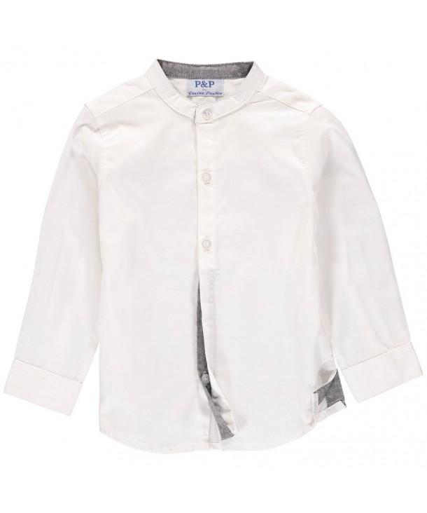 Boys Plain White Button Up