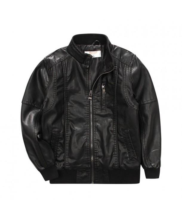LJYH BoysClassic Stand Collar Leather Jacket