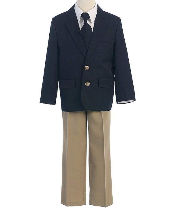 Boys 4 Piece Button Jacket Khaki