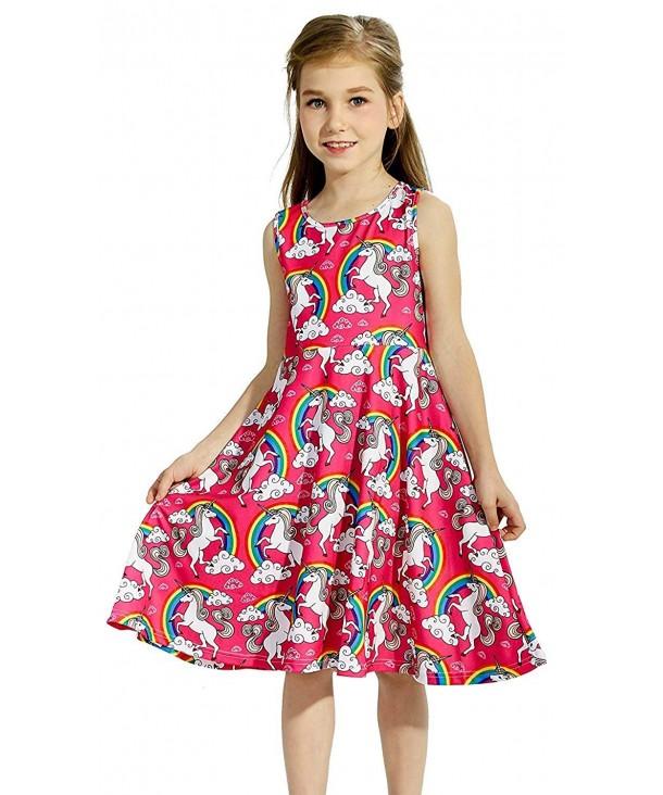 Toddler Sleeveless Unicorn Dresses Rainbow